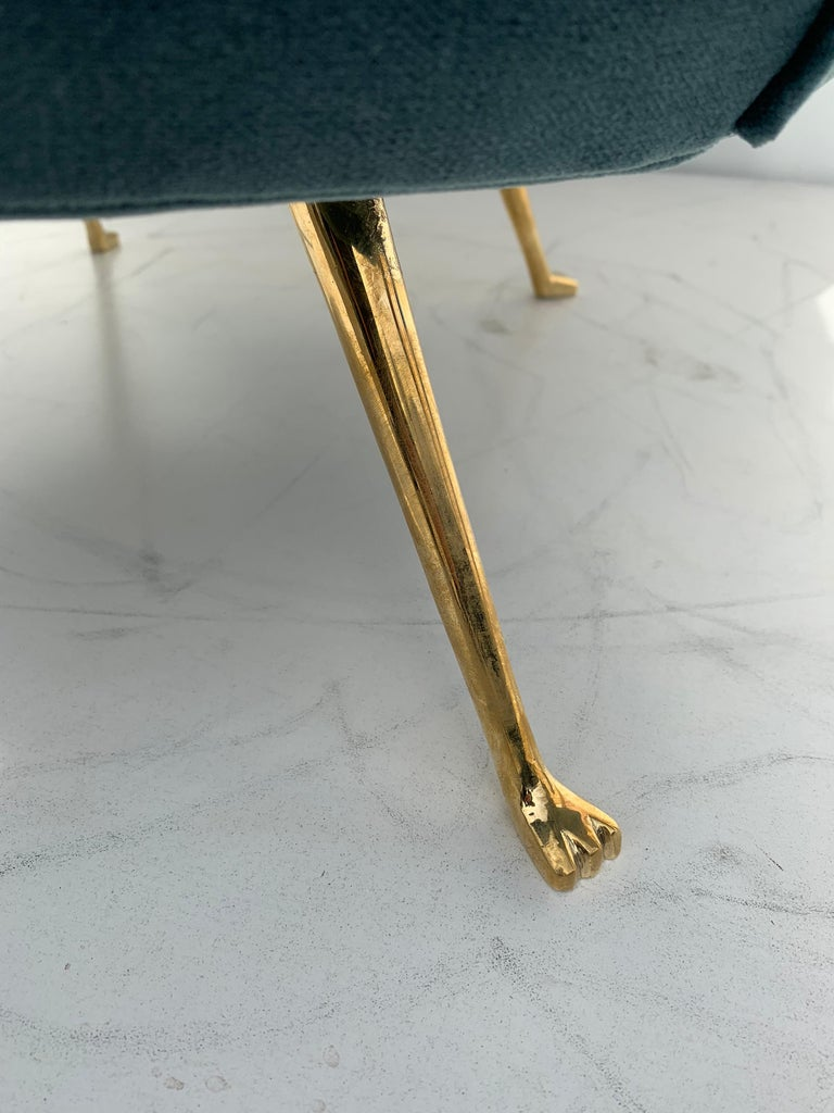 Pair of Scalloped Back Lounge Chairs with Brass Legs 15