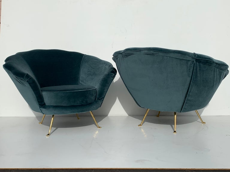 Pair of Scalloped Back Lounge Chairs with Brass Legs 2