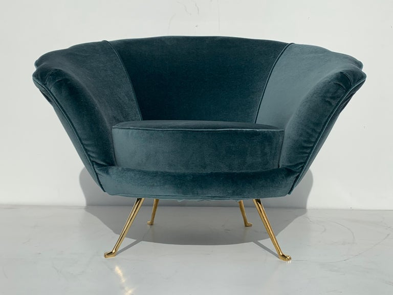 Pair of Scalloped Back Lounge Chairs with Brass Legs 3
