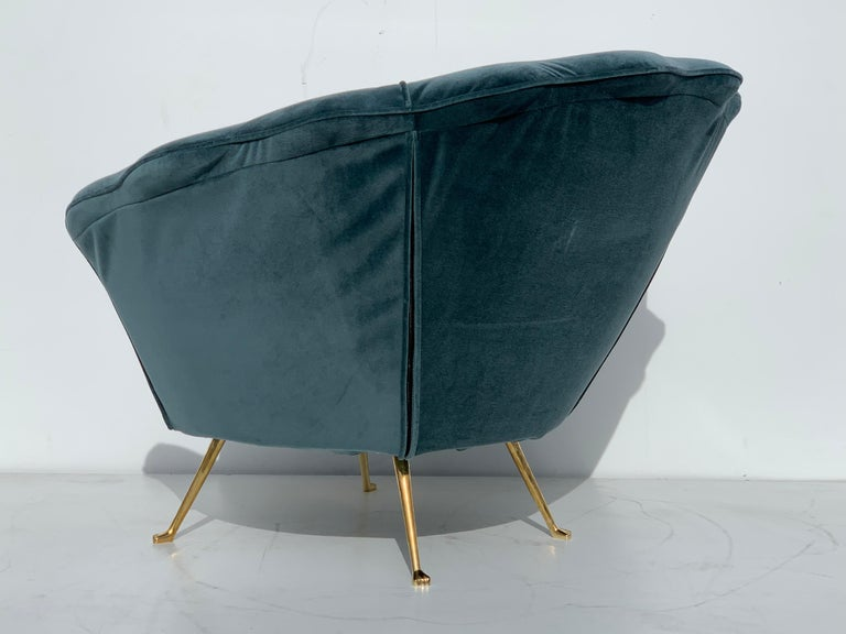 Pair of Scalloped Back Lounge Chairs with Brass Legs 7