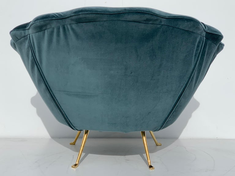 Pair of Scalloped Back Lounge Chairs with Brass Legs 8