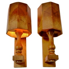 Pair of Scandiavian Modern Pinewood Wall Lights, Sweden, 1970s
