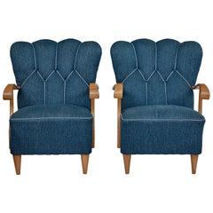 Pair of Scandinavian 1950's Shell Back Armchairs