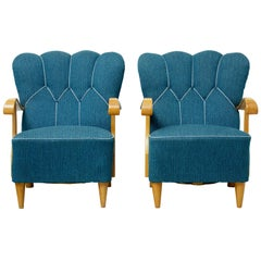 Pair of Scandinavian 1950s Shell Back Armchairs