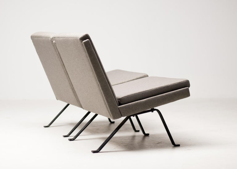 Enameled Pair of Scandinavian Architectural Lounge Chairs For Sale