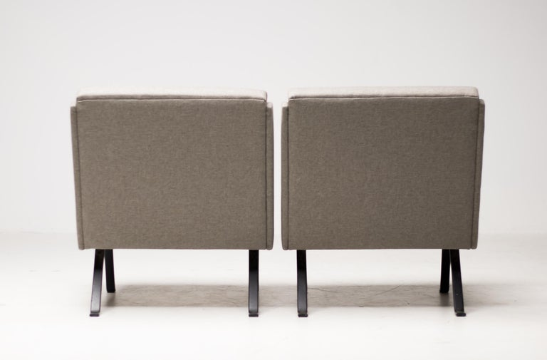 Mid-20th Century Pair of Scandinavian Architectural Lounge Chairs For Sale