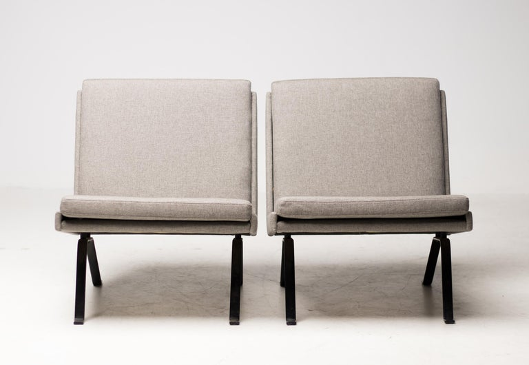 Fabric Pair of Scandinavian Architectural Lounge Chairs For Sale