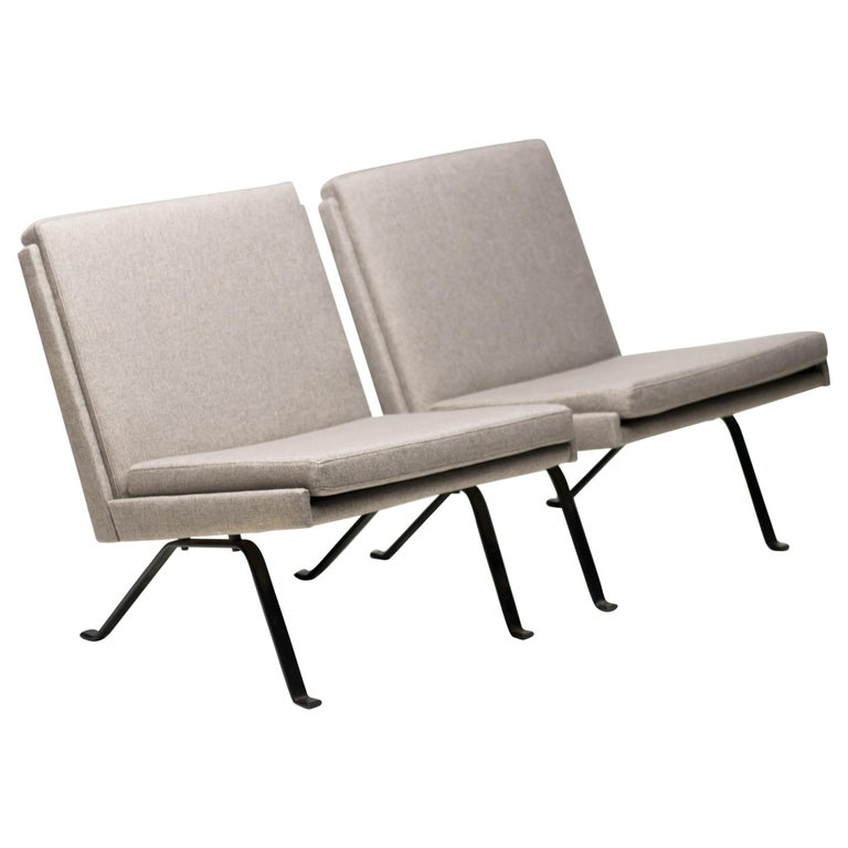 Pair of Scandinavian Architectural Lounge Chairs For Sale
