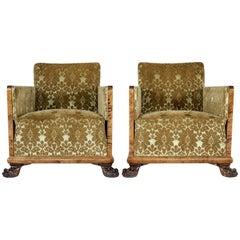 Pair of Scandinavian Art Deco Birch Club Armchairs