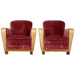 Pair of Scandinavian Art Deco Elm Armchairs