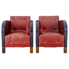 Pair of Scandinavian Art Deco Leather Club Armchairs