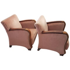 Pair of Scandinavian Art Deco Pink Mohair Club Chairs, 1930s