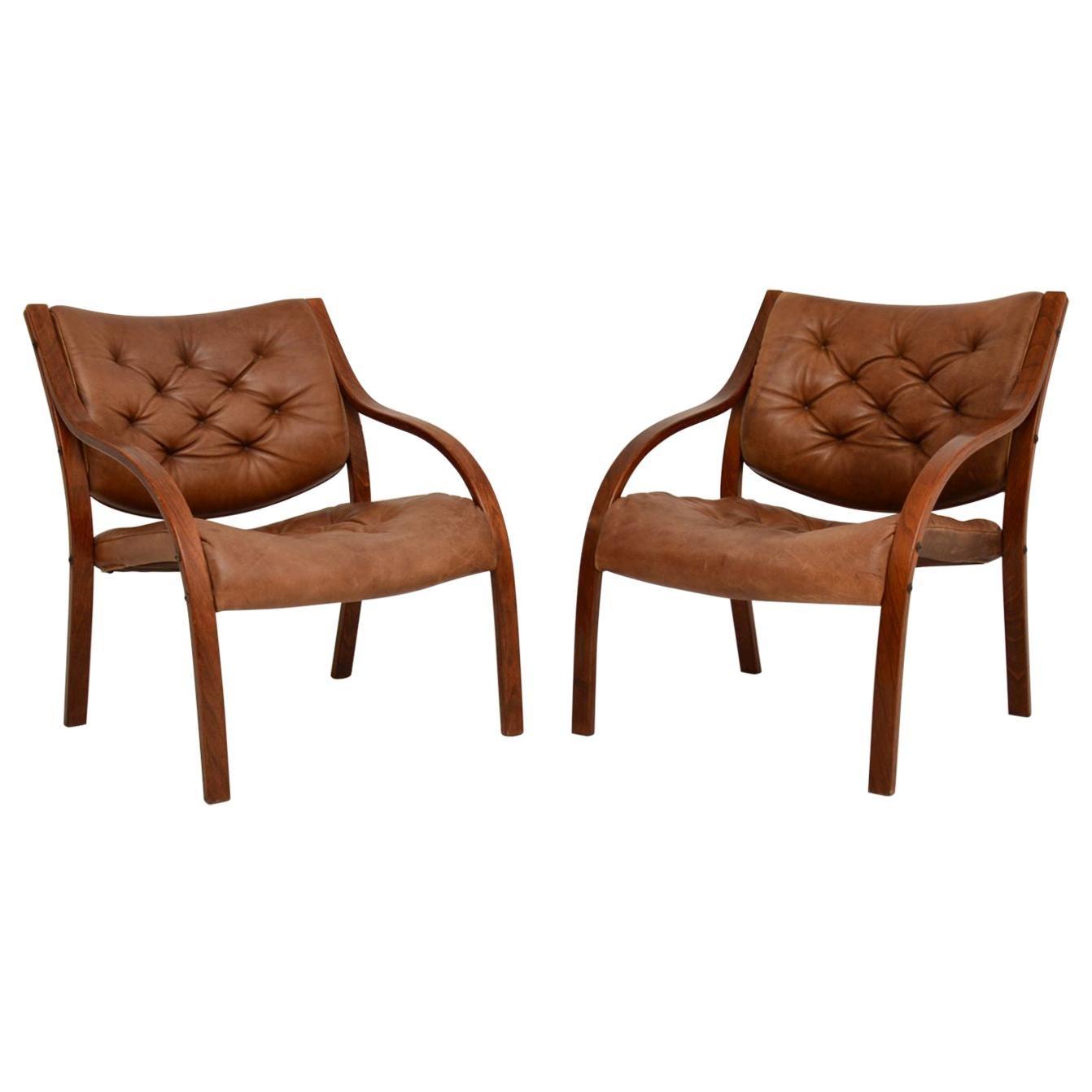 Pair of Scandinavian Bentwood & Leather Vintage Armchairs