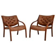Pair of Scandinavian Bentwood & Leather Vintage Armchairs