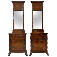 Pair of Scandinavian Biedermeier/ Empire Cabinets Mirrors in Mahogany