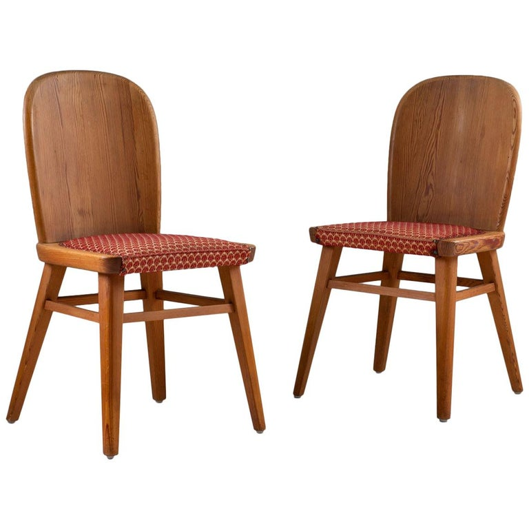 Pair of Scandinavian Chairs in Pine For Sale