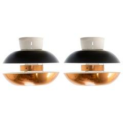Pair of Scandinavian Flushmount Ceiling Lamps, 1950s
