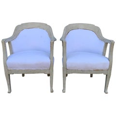 Pair of Scandinavian Gustavian Style Gray Painted Armchairs