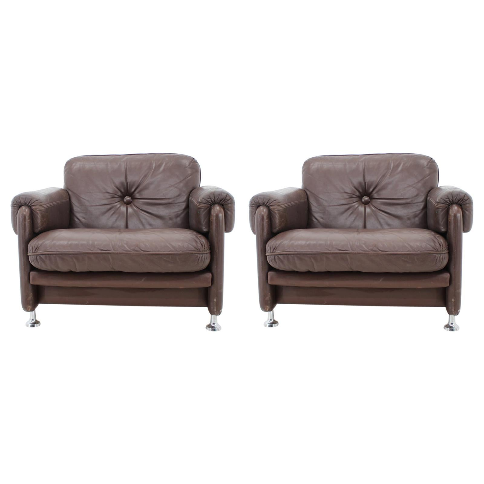Pair of Scandinavian Leather Armchairs for MYRSKYLÄ OY, Finland, 1960s