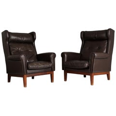 Pair of Scandinavian Leather Club Chairs, 1970s