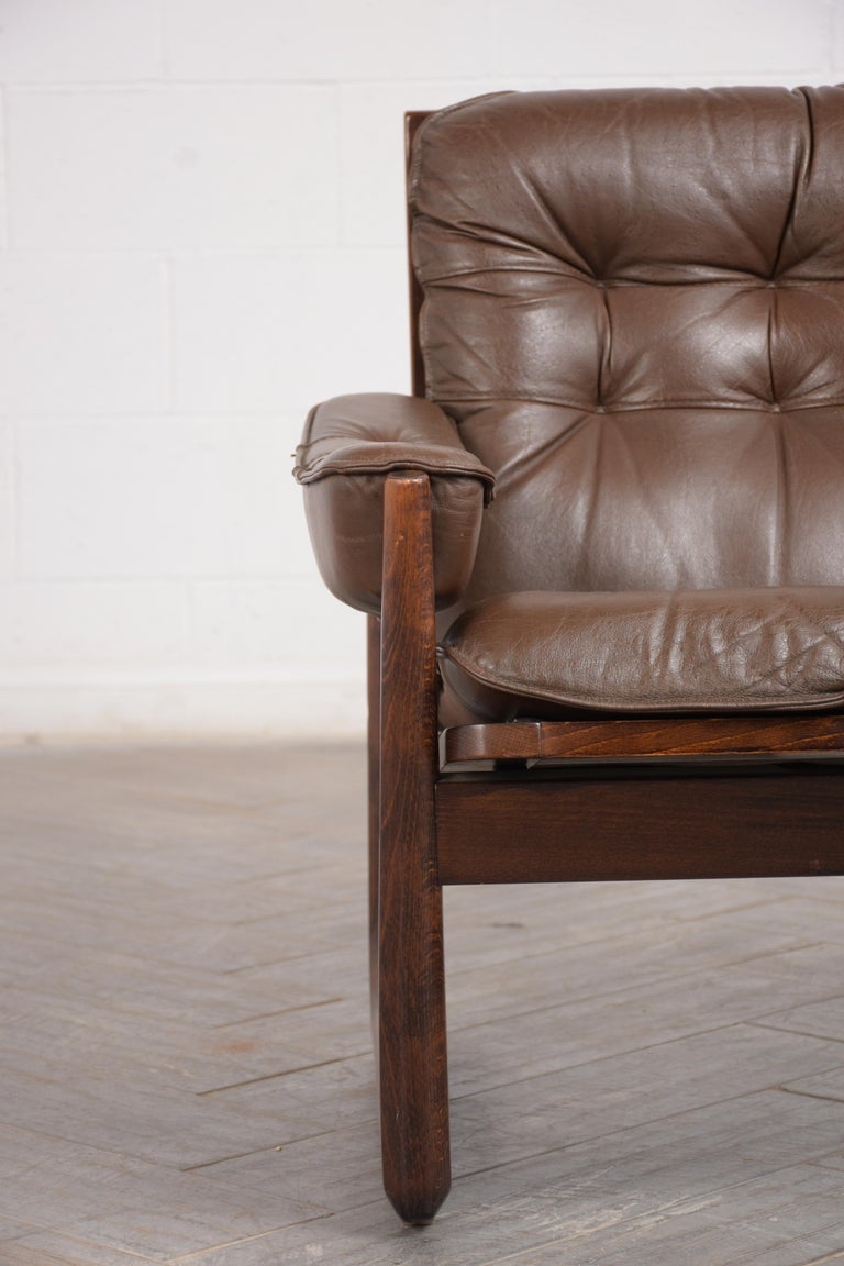 Carved Pair of Mid Century Leather Tufted Lounge Chairs For Sale