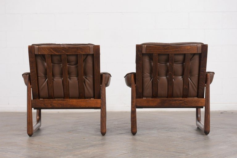 Pair of Mid Century Leather Tufted Lounge Chairs For Sale 1
