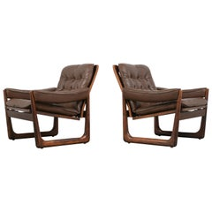 Pair of Scandinavian Leather Lounge Chair