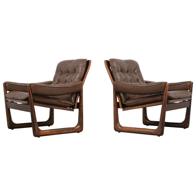 Pair of Mid Century Leather Tufted Lounge Chairs For Sale