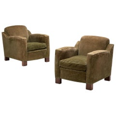Pair of Scandinavian Lounge Chairs in Muss Green Fabric