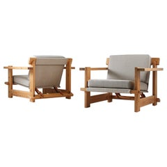 Pair of Scandinavian Lounge Chairs in Pine, 1970s