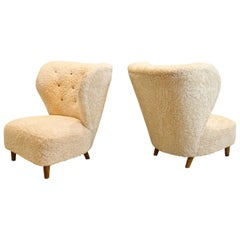 Pair of Scandinavian Low Chairs in Shearling, 1940s