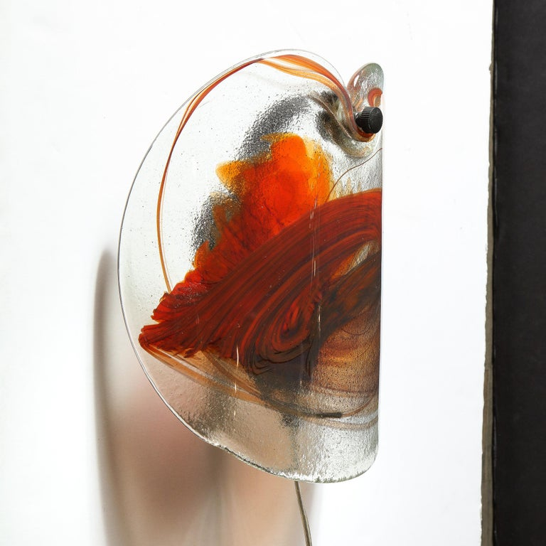 Pair of Scandinavian Midcentury Hand Blown Ruby Red Sconces with Bronze Fittings For Sale 2