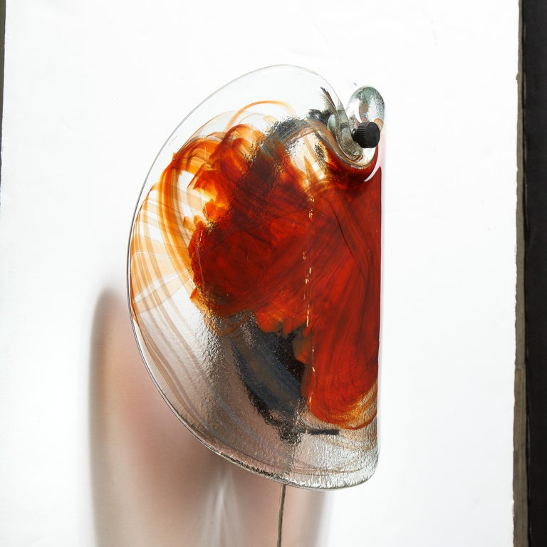 Pair of Scandinavian Midcentury Hand Blown Ruby Red Sconces with Bronze Fittings For Sale 3