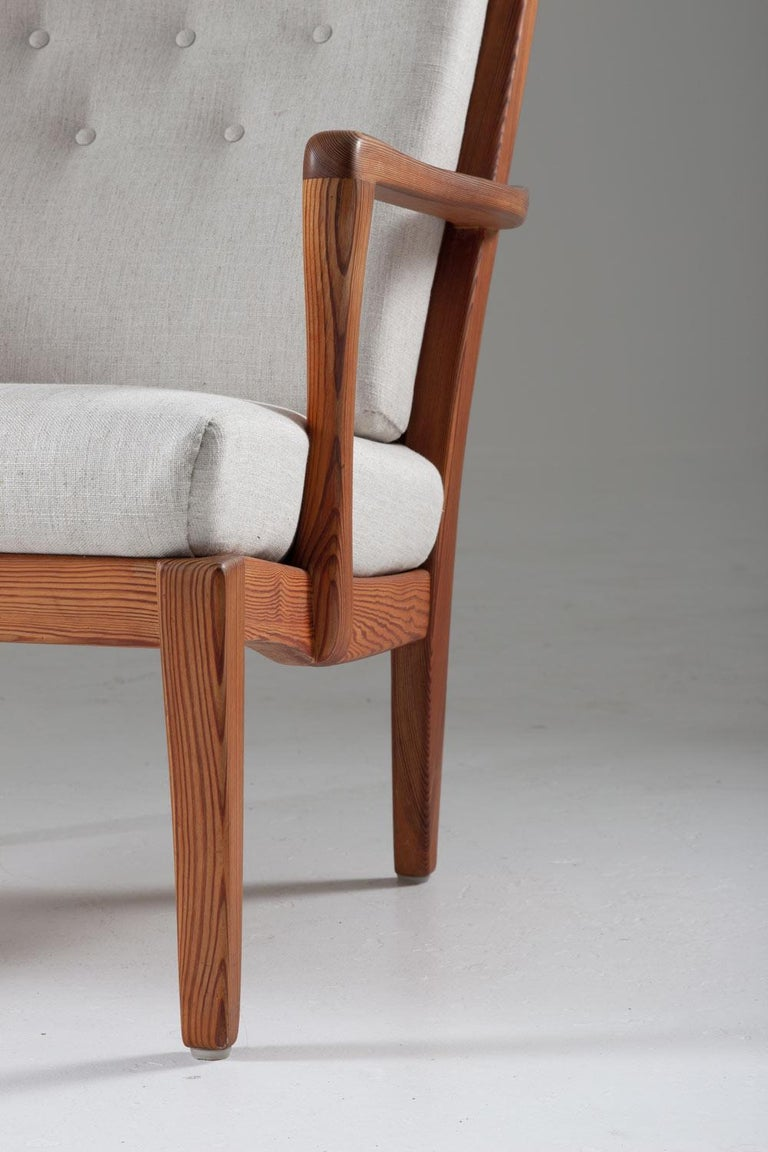 Pair of Scandinavian Midcentury Lounge Chairs by Carl Malmsten For Sale 2