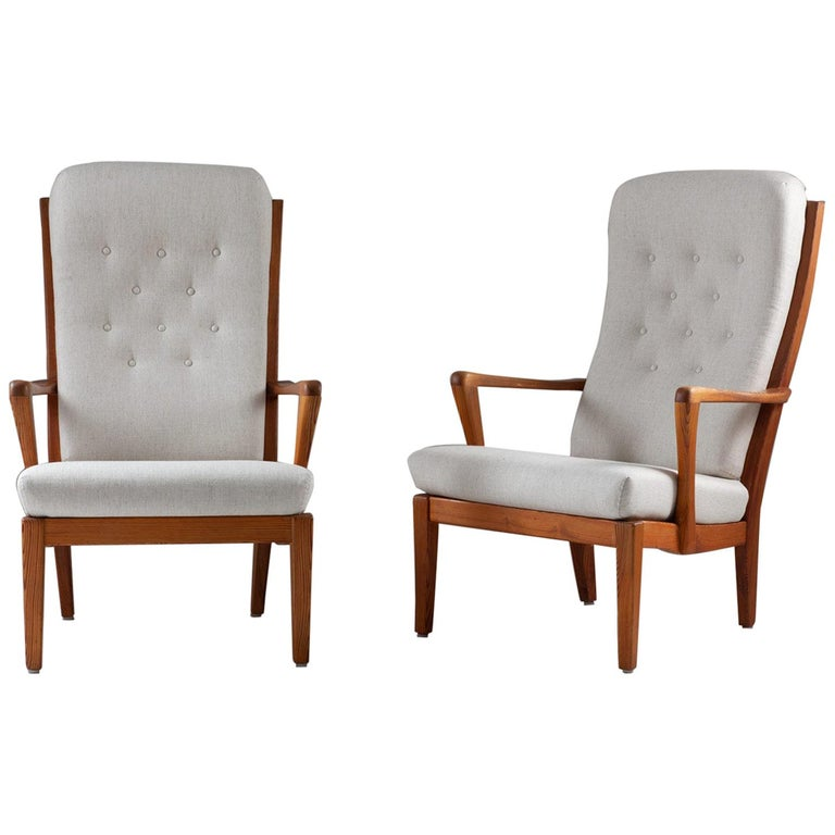 Pair of Scandinavian Midcentury Lounge Chairs by Carl Malmsten For Sale