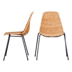 Pair of Scandinavian Midcentury Chairs, 1960s, Rattan-Metal, Original Condition