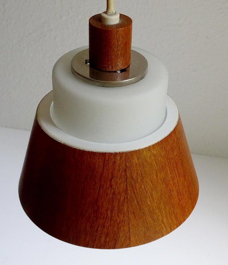 Pair of  Scandinavian Midcentury Danish Modern Teak Brass Glass Sconces, 1960s For Sale 9