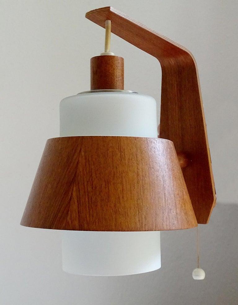Pair of  Scandinavian Midcentury Danish Modern Teak Brass Glass Sconces, 1960s For Sale 10