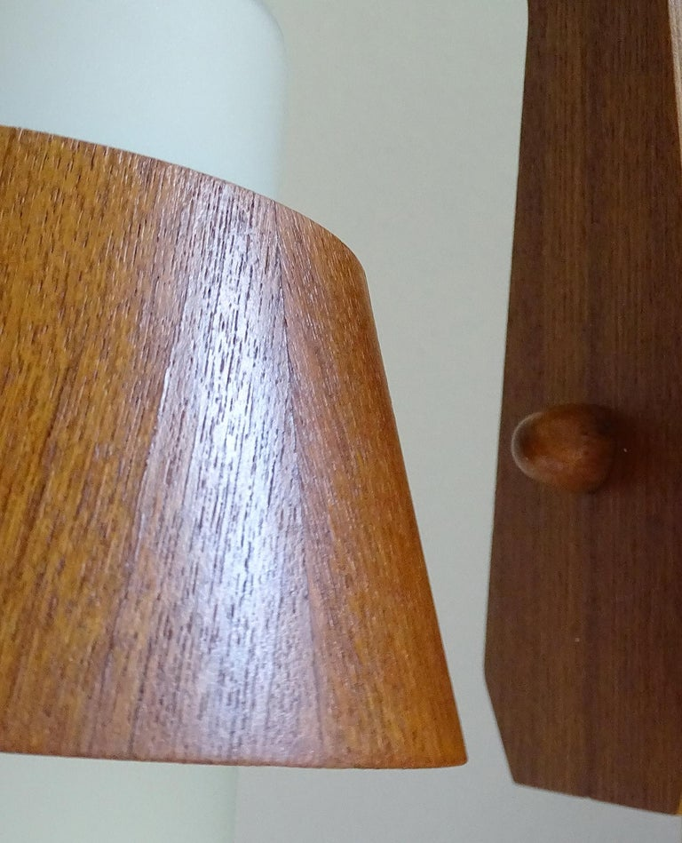 Pair of  Scandinavian Midcentury Danish Modern Teak Brass Glass Sconces, 1960s For Sale 11