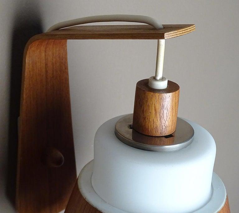 Pair of  Scandinavian Midcentury Danish Modern Teak Brass Glass Sconces, 1960s For Sale 12