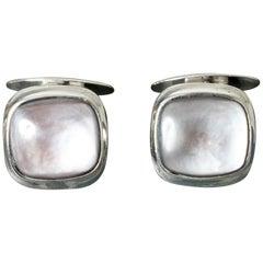 Pair of Scandinavian Midcentury Silver and Moonstone Cufflinks