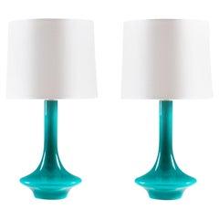Pair of Scandinavian Midcentury Table Lamps in Glass