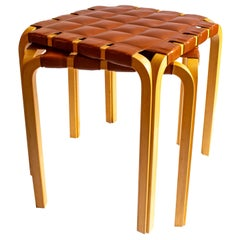 Pair of Scandinavian Modern Alvar Aalto Y61 Stools in Birch and Leather Seat