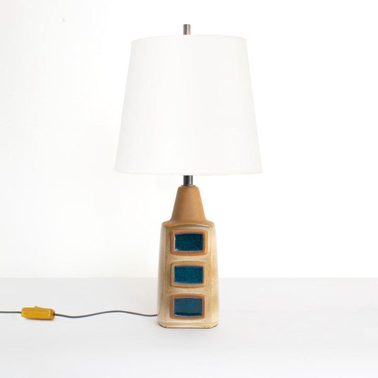 Danish Einar Johansen for Soholm Stentøj Pair Scandinavian Modern Glazed Ceramic Lamps For Sale