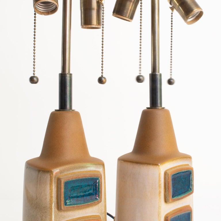 Einar Johansen for Soholm Stentøj Pair Scandinavian Modern Glazed Ceramic Lamps For Sale 1