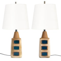 Einar Johansen for Soholm Stentøj Pair Scandinavian Modern Glazed Ceramic Lamps