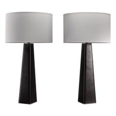 Pair of Scandinavian Modern Black Leather Clad Table Lamps