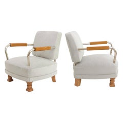 Pair of Scandinavian Modern Elmwood and Chromed Metal Armchairs