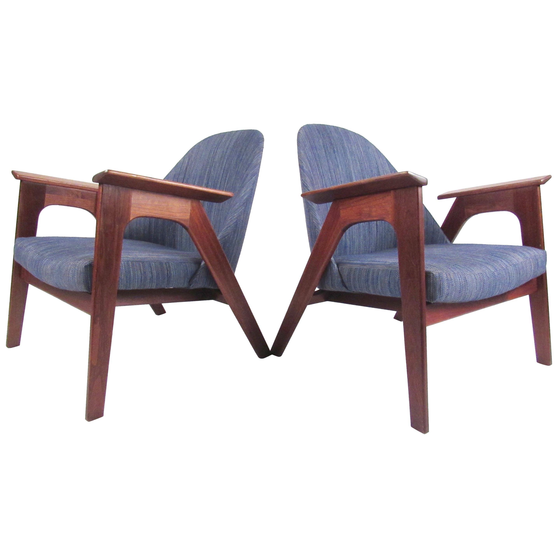 Pair of Scandinavian Modern Lounge Chairs After Kofod-Larsen