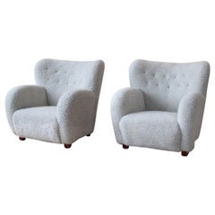 Pair of Scandinavian Modern Sheepskin Armchairs, 1950s